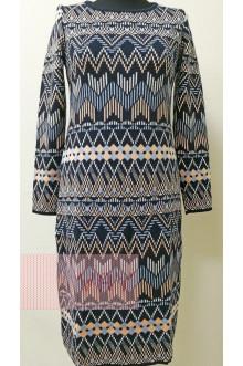 Платье женское 2315 Фемина (Темно-синий/яркий персик/молоко/небесный)