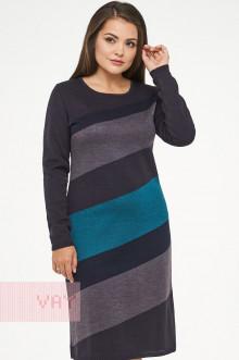 Платье женское 2294 Фемина (Мокрый асфальт/графит/темно-синий/темный изумруд)