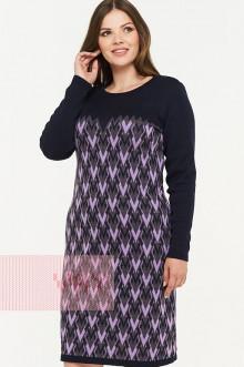 Платье женское 2290 Фемина (Темно-синий/графит/светлая фиалка)