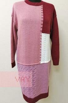 Платье женское 182-2337 Фемина (Марсала/камелия/белый/розовая дымка)