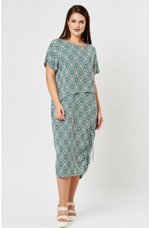 """Платье """"Лина"""" 52143 (Зеленый принт)"""