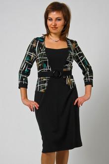 """Платье """"СКС"""" 7470 (Черный-абстракция зеленый)"""