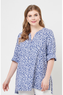 """Блуза """"Лина"""" 4235 (Цветочки синий)"""