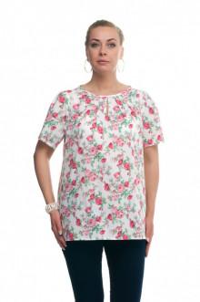 """Блуза """"Олси"""" 1610013/8 ОЛСИ (Розы на белом)"""