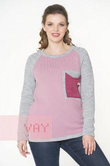 Джемпер женский 182-4646 Фемина (Светло-серый меланж/камелия/розовый меланж)