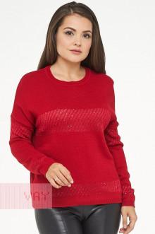 Джемпер женский 182-4736 Фемина (Красный/пайетки красный)