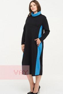 Платье женское 182-2323 Фемина (Темный антрацит/гжель)